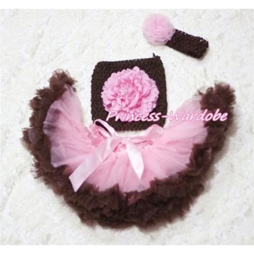 Pink Brown Baby Pettiskirt, Pink Peony Brown Crochet Tube Top, Brown Headband, Pink Rose 3PC Set CT170