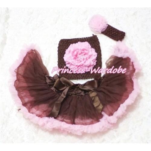 Brown Pink Baby Pettiskirt, Pink Peony Brown Crochet Tube Top, Brown Headband Pink Rose 3PC Set CT172