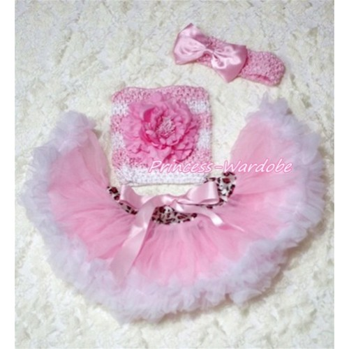 Pink White Leopard Waist Baby Pettiskirt, Pink Peony Pink White Crochet Tube Top, Pink Bow Headband 3PC Set CT173