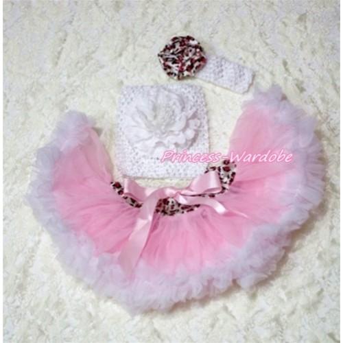 Pink White Leopard Waist Baby Pettiskirt, White Peony White Crochet Tube Top, White Headband Pink Leopard Rose 3PC Set CT187