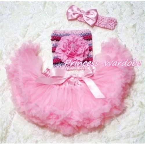 Light Pink Baby Pettiskirt, Pink Peony Pink Fusion Mixed Crochet Tube Top, Light Pink Bow Headband 3PC Set CT191