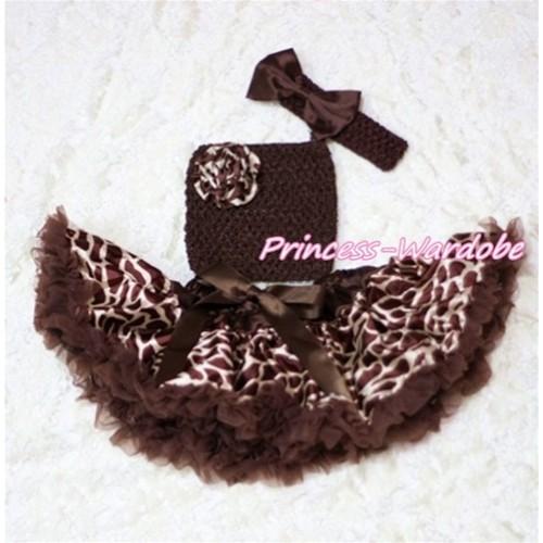 Brown Giraffe Baby Pettiskirt, Giraffe Rose Brown Crochet Tube Top, Brown Bow Headband 3PC Set CT201