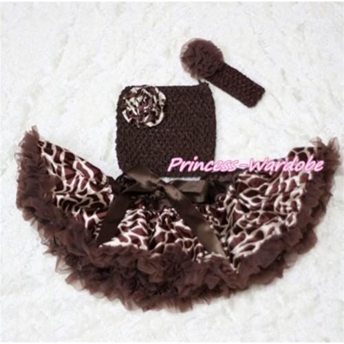 Brown Giraffe Baby Pettiskirt, Giraffe Rose Brown Crochet Tube Top, Brown Rose Headband 3PC Set CT202