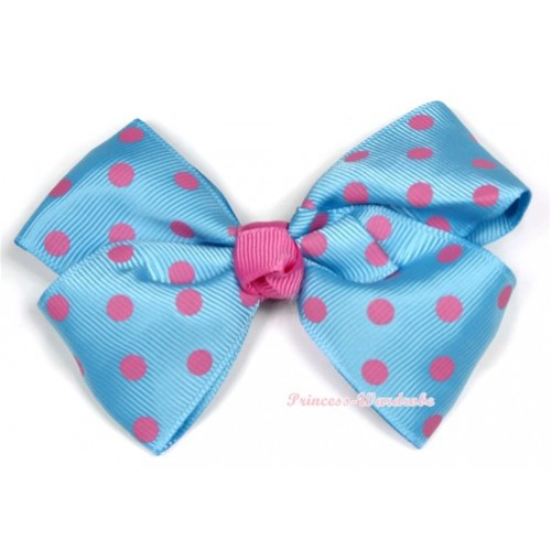 Light Blue Hot Pink Polka Dots Ribbon Bow Hair Clip H712