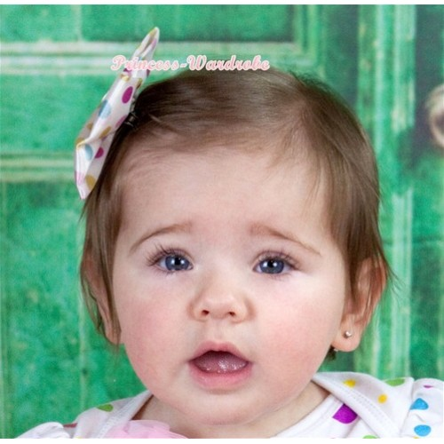 White Rainbow Polka Dots Satin Bow Hair Clip H480