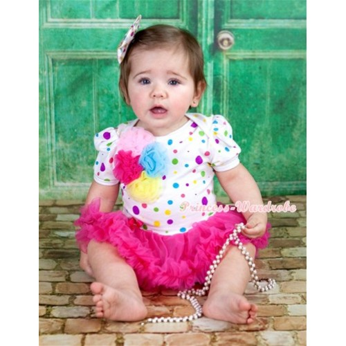 White Rainbow Dots Baby Jumpsuit Hot Pink Pettiskirt With Bunch Of Light Pink Hot Pink Light Blue Yellow Rosettes With White Rainbow Dots Satin Bow JS1118