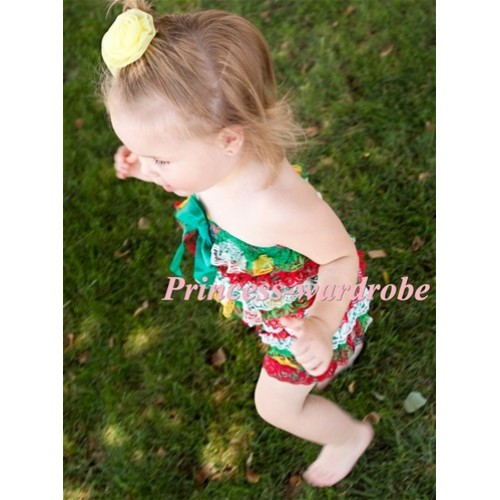 Red White Green Layer Chiffon Romper with Green  Bow LR93