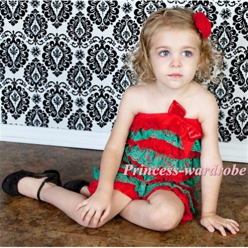 Xmas Red Green Layer Chiffon Romper with Red  Bow LR91