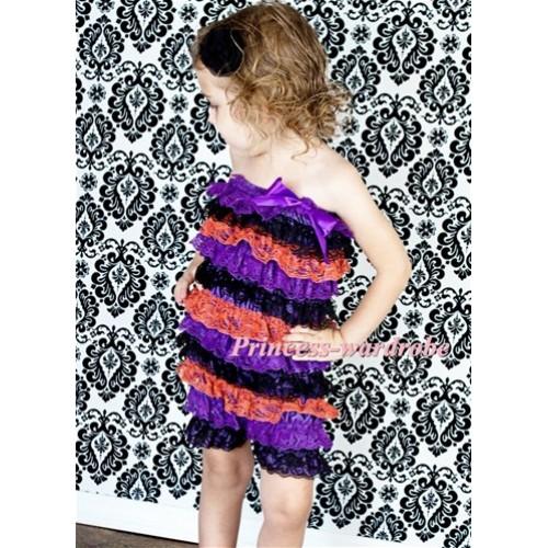 Purple Black Orange Layer Chiffon Romper with  Purple Bow LR89