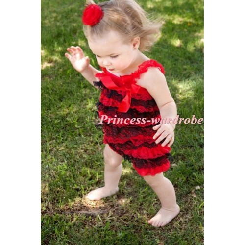 Xmas Red Black Layer Chiffon Romper with Red Bow & Red Straps LR80
