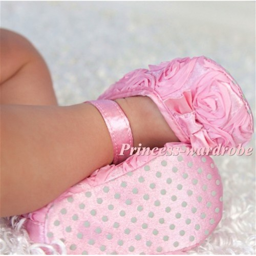 Baby Light Pink Rosettes Crib Shoes S118