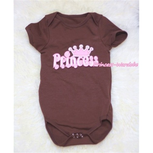 Brown Baby Jumpsuit with Princess Print TH145