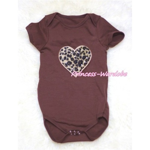 Brown Baby Jumpsuit with Leopard Heart TH146