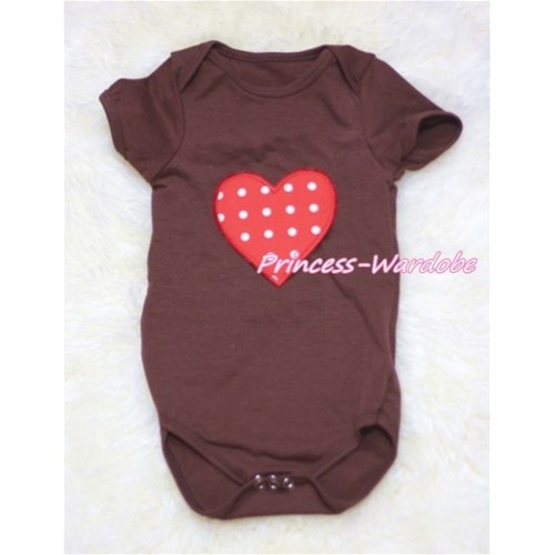 Brown Baby Jumpsuit With Red White Polka Dots Heart Print TH147