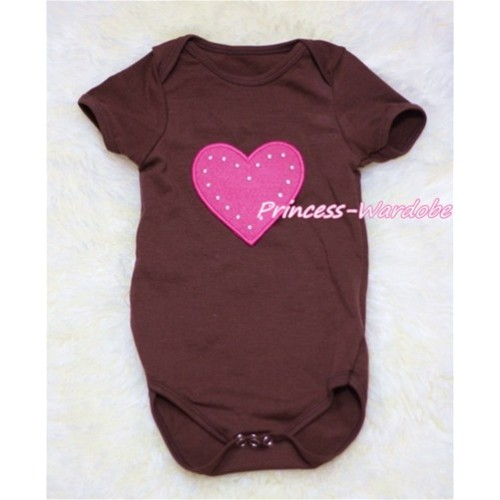 Brown Baby Jumpsuit with Hot Pink Heart TH150
