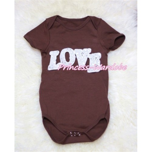 Brown Baby Jumpsuit with Sparkle Love Print TH152