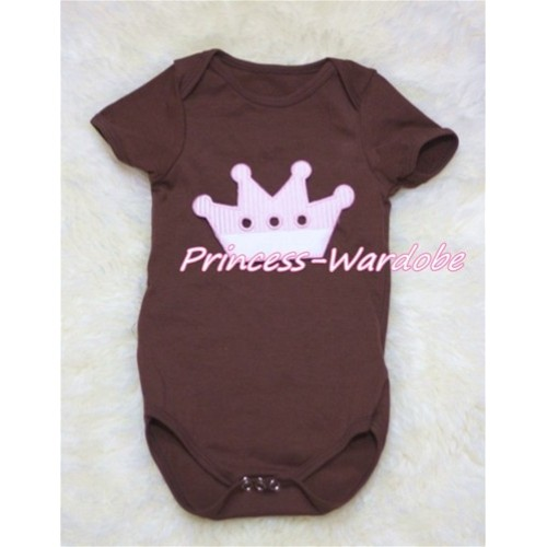 Brown Baby Jumpsuit with Crown Print  TH153