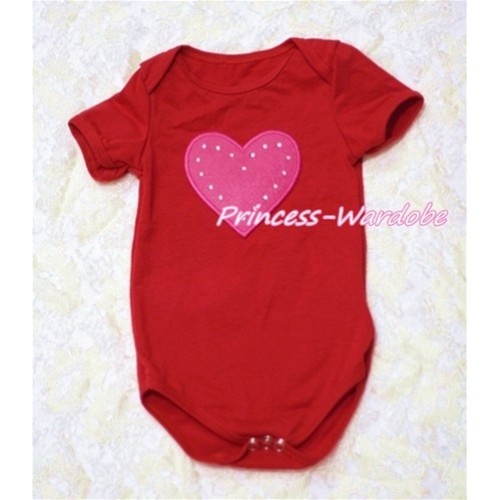 Hot Red Baby Jumpsuit with Hot Pink Heart Print TH126
