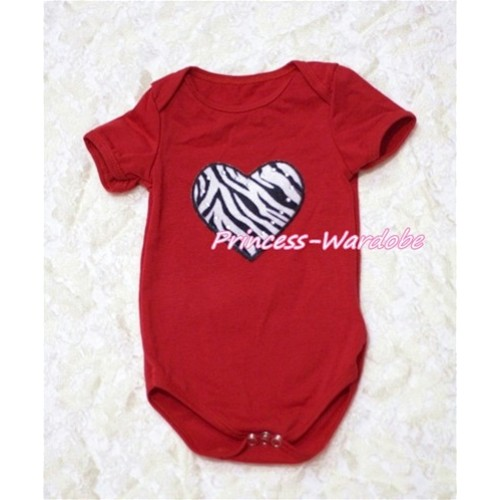 Hot Red Baby Jumpsuit with Zebra Heart Print TH128
