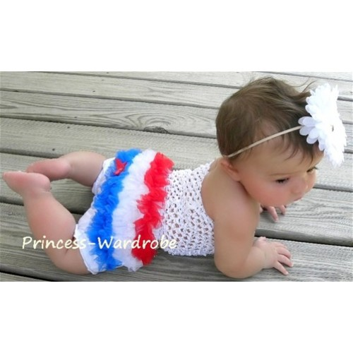 White Crochet Tube Top, Red White Blue Bloomer CT20