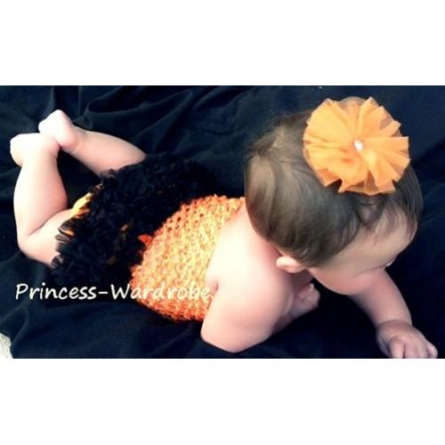 Orange Crochet Tube Top, Orange Black Bloomer CT21