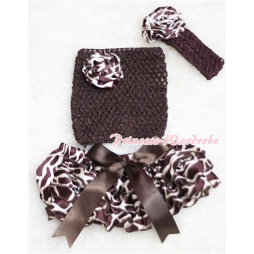Brown Big Bow Giraffe Panties Bloomers with Giraffe Rose Brown Crochet Tube Top and Brown Headband and Giraffe Rose 3PC Set CT213