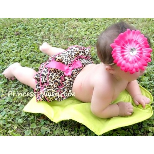 Hot Pink Leopard Print Satin Bloomers & Hot Pink Bow B23