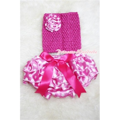 Hot PInk Crochet Tube Top, Hot Pink Giant Bow Hot Pink Dots Bloomer, Hot Pink Dots Rose CT209