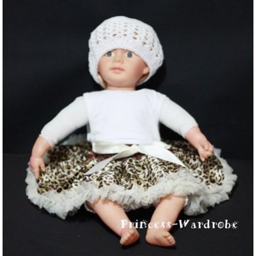 Cream White leopard New Born Pettiskirt N47