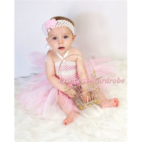Pink White Crochet Tube Top with White Pink Knotted Tulle Tutu HT10