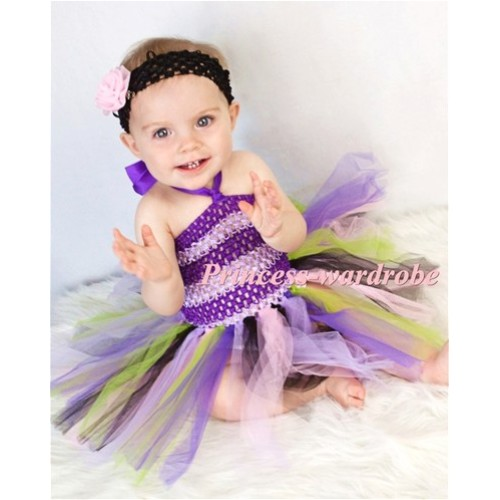 Mixed Purples Crochet Tube Top with Matched Knotted Tulle Tutu HT12