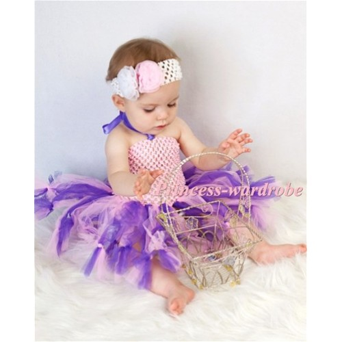 Special Style Light Pink Crochet Tube Top with Mixed Purples Knotted Tulle Tutu HT13
