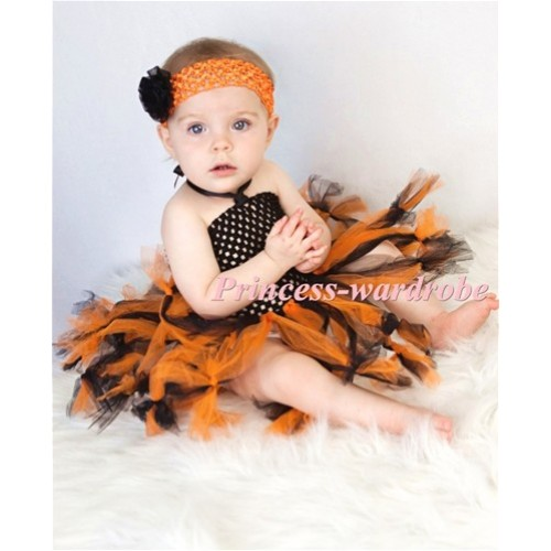 HALLOWEEN Special Style Black Crochet Tube Top with Black Orange Knotted Tulle Tutu HT14