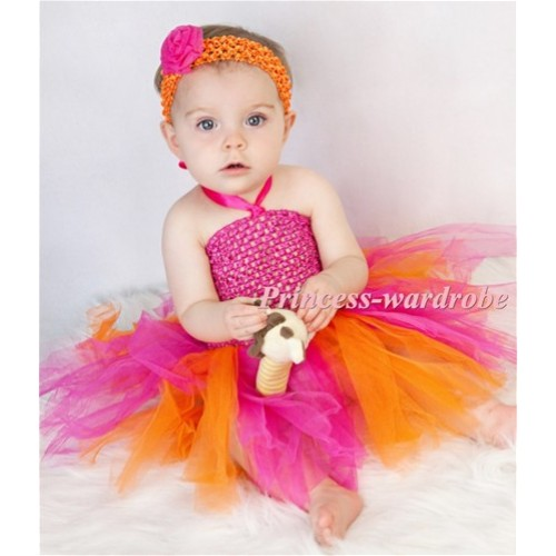 Hot Pink Crochet Tube Top with Hot Pink Orange Knotted Tulle Tutu HT15
