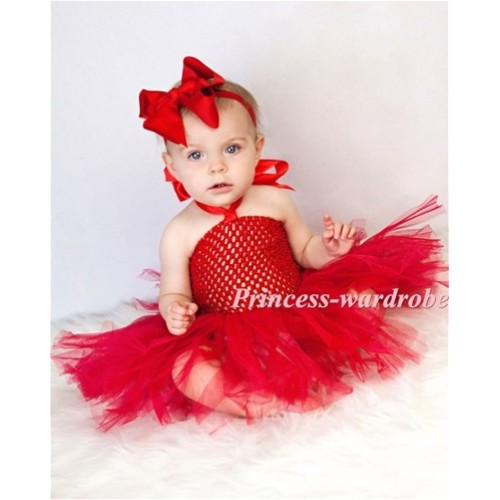 X'mas Red Crochet Tube Top with Red Knotted Tulle Tutu HT18