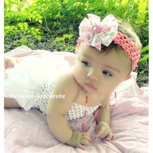 White Crochet Tube Top with White Panties Bloomers with Light Pink Rose Ribbon CT22