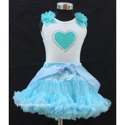 Light Blue Pettiskirt with Light Blue Heart Crystal & Ruffles White Tank Top M74