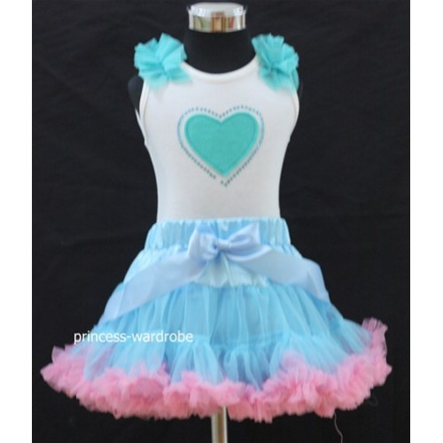Light Blue Pink Pettiskirt with Light Blue Heart Crystal &Ruffles White Tank Top M75