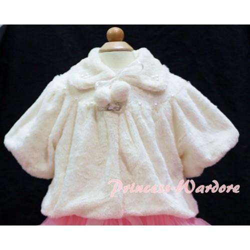 Cream White Soft Fur with Pearl Bead Shawl Coat SH20