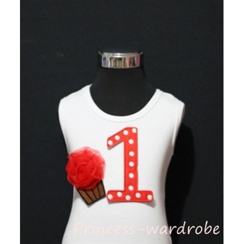 1st Birthday White Tank Top with Red White Polka Dots Print number and Red Rosettes Cupcake TM07