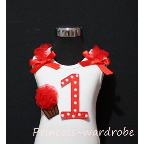 1st Birthday White Tank Top with Red White Polka Dots Print number and Red Rosettes Cupcake and red Ribbon, Ruffles TM08
