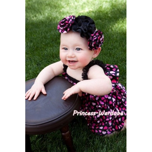 Hot Pink Heart Petti Romper with Straps Pink Bow LR71
