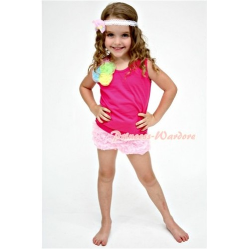 Hot Pink Tank Top with a Bunch of Light Pink Light Blue Lime Green Yellow Rosettes with Light Pink Ruffle Pettishort P001