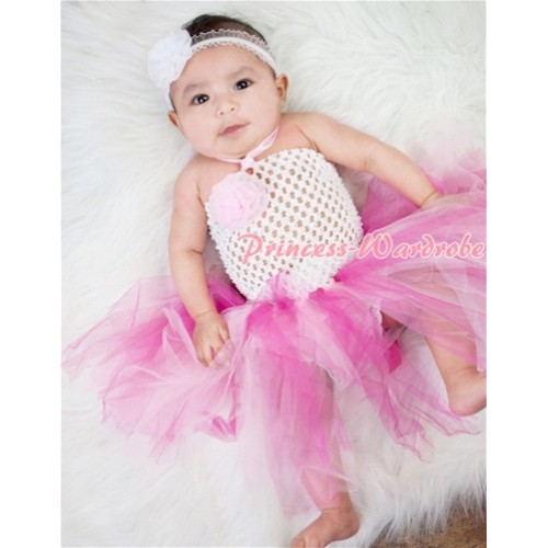 White Crochet Tube Top with Hot Light Pink Knotted Tutu HT20