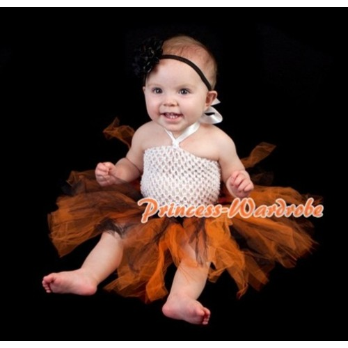 Whte Crochet Tube Top with Black Orange Knotted Tutu HT22