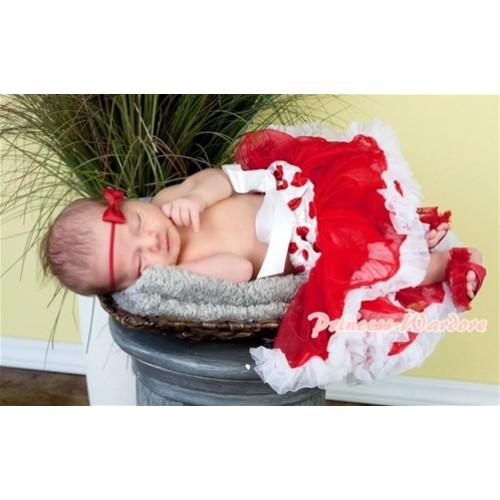 Red White Polka & Minnie Dot Waist Red White New Born Pettiskirt N82
