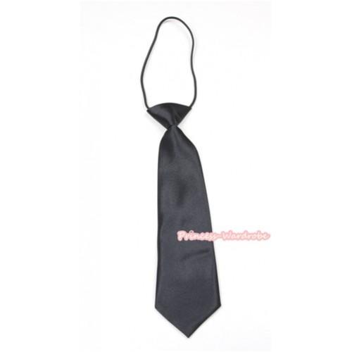 Black Silk Elastic Necktie BT13