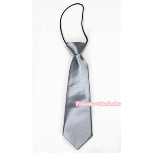 Silver Grey Silk Elastic Necktie BT15