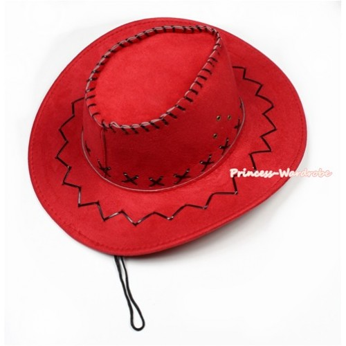 Hot Red Leather Western Cowboy Wide Brim Hat H717