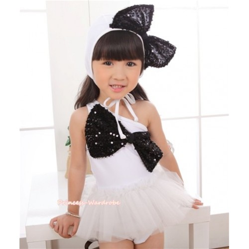 Pure White Black Sequin Cute Bow One Piece Sloping Shoulders Swimming Suit with Cap SW69